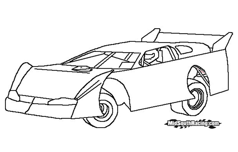 Dirt Car Coloring Pages : Free dirt modified race car coloring pages