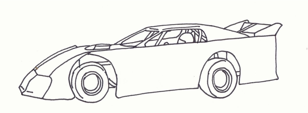 late model dirt track cars coloring page sketch coloring page