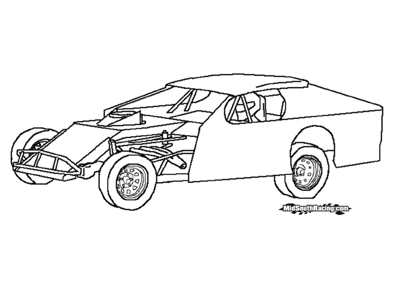 Dirt Car Coloring Pages : Dirt late models coloring pages
