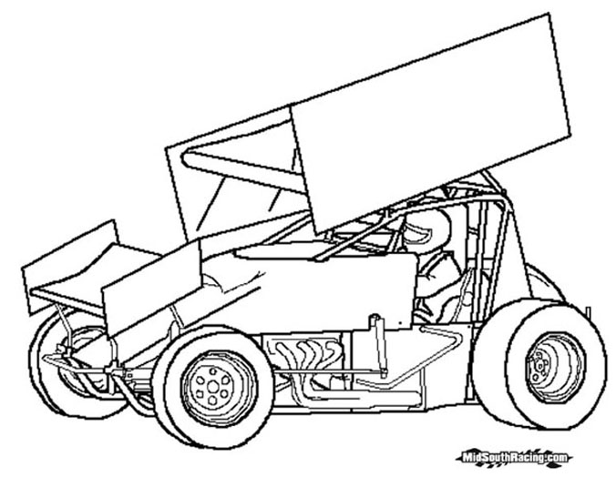 coloring pages of sprint cars